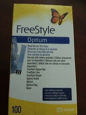 Frestyle Optium. 100Tiras  Reactivas, CAD.01/2021...LARGA CADUCIDAD