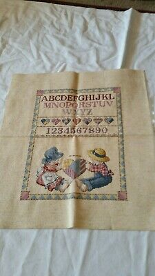 Completed Cross Stitch ~ Keepsake Sampler ~ Country Children, Hearts