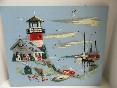 Finished Crewel Embroidery Paragon Lighthouse Boat Harbor Completed 16x20