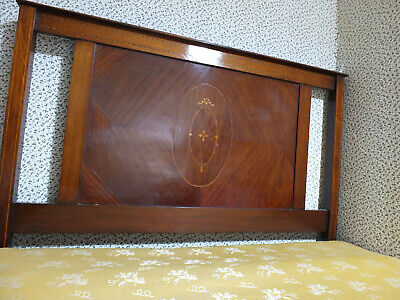 Edwardian mahogany inlaid double bed frame with side irons