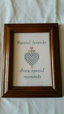 Framed Completed Cross Stitch ~ Special Friends Share Special Moments