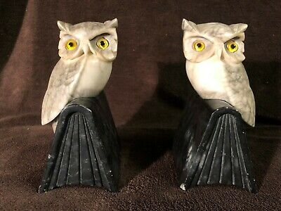 Magnificent Italian Vintage Early 20th Century Carved Marble OWL Bookends