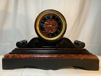 Magnificent 1860's Black and Red Marble Leroy & Fils Mantle Clock + Key No. 6455