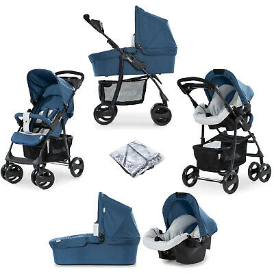 NEW Hauck Shopper SLX Trio Travel System Pushchair Pram Buggy Denim/Silver Blue
