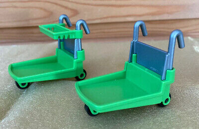 Playmobil Supermarket Trolley for Food Or Workman's Heavy Goods Trolly X2