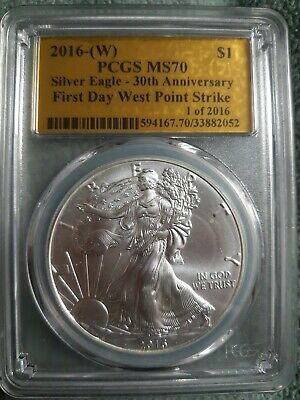2016w 30th ANNIV. PCGS MS70 FDOI SILVER EAGLE 1 OF 2016 GOLD FOIL LABEL PERFECT