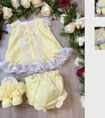 Baby Girls Spanish Frilly Dress With Lace And Bloomers Ideal Easter Dress