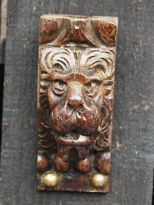 17th Century CARVED OAK LION HAD. Gothic Medieval Carving