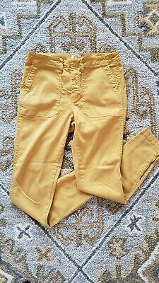 J Crew Mustard Skinny Cropped Zip Ankle Cargo Pants Womens Size 29 Spring