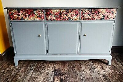 Stag Sideboard Minstrel Cupboards Drawers Painted dark grey decoupage floral
