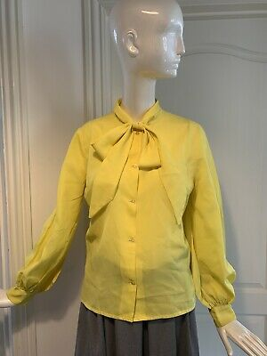 Vintage 1970s Yellow Pussybow Blouse With Puff Sleeves - Size 10/12