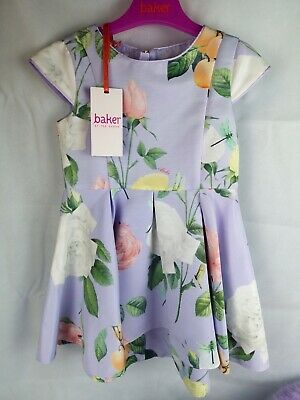 Brand New Ted Baker Girls Floral Dress - Purple 2-3 Years Old Wedding With Tags