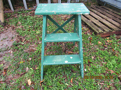 Original 1940's, Orig, GREEN Paint~Primitve, Wooden 2 Step LADDER ~XBack