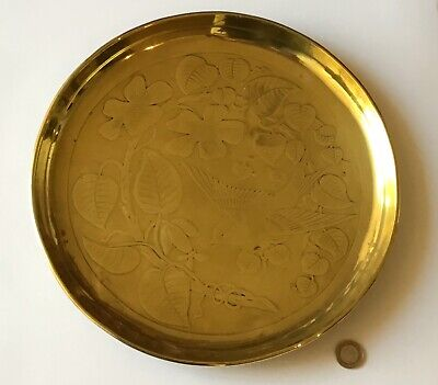 Antique C1880 Aesthetic Movement Victorian Arts & Crafts Brass Dish, Tray, Bird
