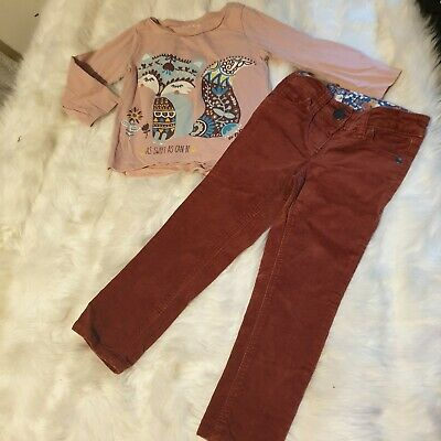 Girls 2-3 years Bundle sweet fox Top & velvet trousers jeans outfit Next Day