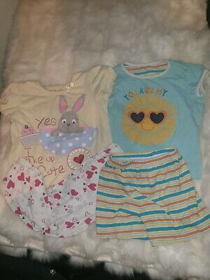 Girls 2-3 Years Pyjamas bundle top bottoms shorts set Hearts Bunny Sun Next Day