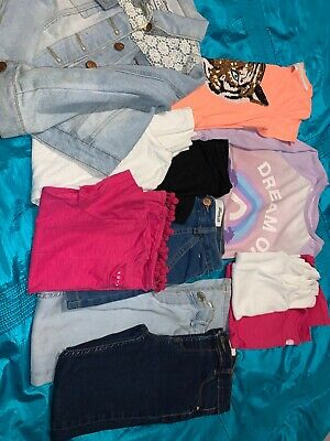 girls clothes bundle age 7-8 River Island Jeans 6x Tops + Denim Jacket, Nighty +