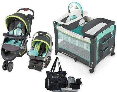Baby Stroller with Car Seat Nursery Center Smart Playard Diaper Bag Combo Set