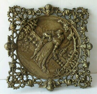 Antique Vintage Heavy Brass Bronze Wall Hanging Plaque Man Woman Cherubs 9.5""