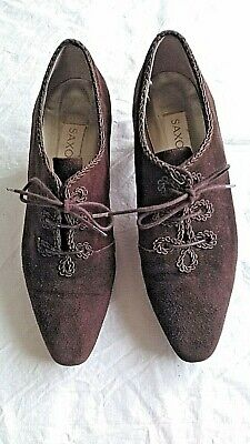 Vintage *Saxone* Brown Suede Victorian Style Shoes Size Uk 4/37 Vgc