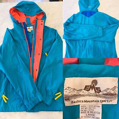 Spring Time VTG Eastern Mountain Sports Colorblock Full Zip Hidden Hood Size L