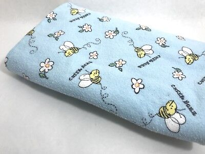 Cheer Buzz Bees & Flowers Baby Blanket Receiving Blanket Blue & Yellow Nuetral