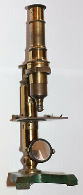 ANTIQUE BRASS OPTICAL MICROSCOPE - UNMARKED - 3x SCREW ON MAGNIFICATION