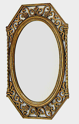Large Syroco Ornate Vintage Hollywood Regency Oval Wall Mirror Gold Frame
