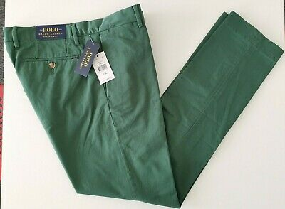 Mens BNWT Polo Ralph Lauren Stretch Slim Fit Green Chino Pants W32 L32 RRP £110