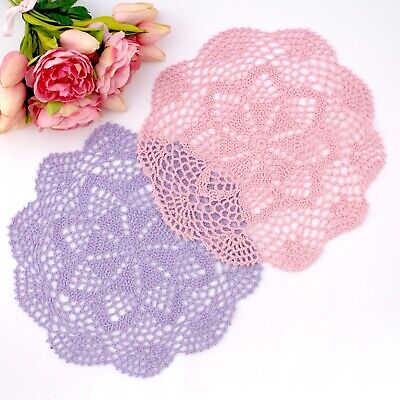 Crochet doilies pink and purple 29 - 30 cm for millinery ,crafts