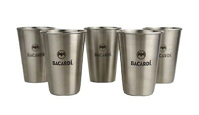 (5) Bacardi Rum Shaker 12oz Stainless Steel Cocktail Cup Bat Logo Collectibles