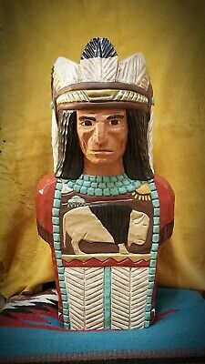 (WC1) Hand Carved 22in Wood Cigar Store Indian Bust