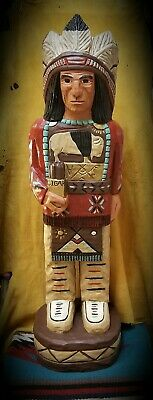 (WC4) Hand Carved Wood 3ft Cigar Store Indian