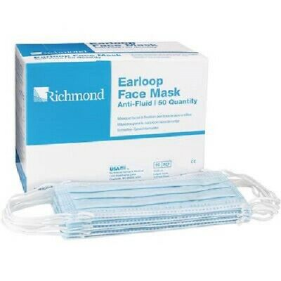 Richmond Earloop Face Mask Blue Box/50 ASTM Level 1 #400502 Surgical USA