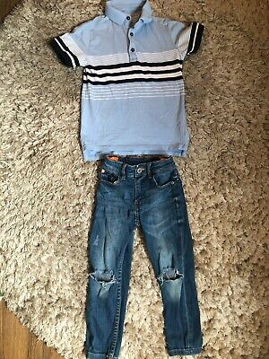 Next Boys Distressed Jeans And Striped Polo Shirt. Age 4