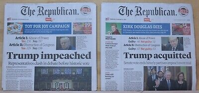 The Republican - Trump Impeached & Acquitted Newspapers 12/19/2019 & 2/6/2020