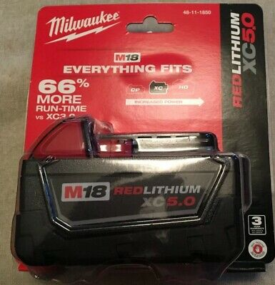 (1) GENUINE 18V Milwaukee 48-11-1850 5.0 AH Battery M18 18 Volt XC 5.0 Red Lith
