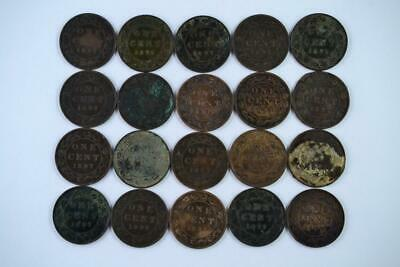 Lot of 20   1897 Canadian Large Penny 1c One Cent Coins (20 Total) FREE SHIPPING