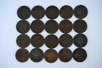 Lot of 20 | 1896 Canadian Large Penny 1c One Cent Coins (20 Total) FREE SHIPPING