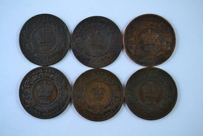 Lot of 6   1864 Canadian Large Penny 1c One Cent Coins (6 Total). FREE SHIPPING