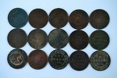 Lot of 15   1859 Canadian Large Penny 1c One Cent Coins (15 Total) FREE SHIPPING