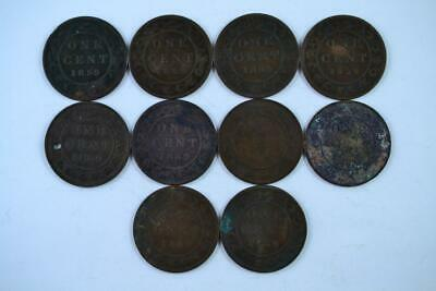 Lot of 10   1859 Canadian Large Penny 1c One Cent Coins (10 Total) FREE SHIPPING