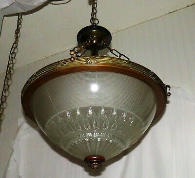 RARE-Holophane Inverted Arts & Crafts Bowl Fixture-Solid Copper & Brass-C.1900-1
