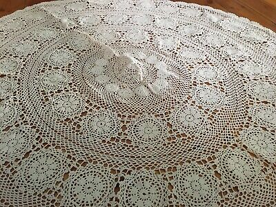 Vintage Crochet Round Tablecloth Cream