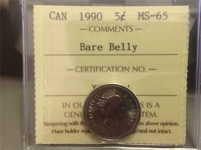 1990 - BARE BELLY  - ICCS - MS-65 - Five Cent - Scroll down for all imagest