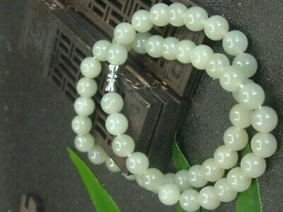 Chinese Antique Celadon Nephrite Hetian-Jade 9mm bead Necklace Pendant 726