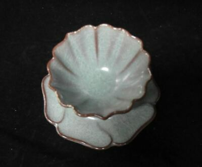 """Perfect Rare A Set Of Old Chinese """"Guan"""" Kiln Porcelain Cup and Saucer Tray"""