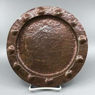 Arts and Crafts Hand Hammered Repousse Copper Charger 9 5/8 Inch