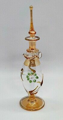 Collectable Glass Genie Egyptian Perfume Bottle Clear, Yellow, Green Gold Gilt