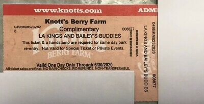 One (1) Knotts Berry Farm Admission Ticket - Valid One Day Only Through 6/30/20